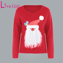 Liva Girl Cotton Knitted Autumn Winter Christmas Sweaters Women Pullover Santa Claus Pattern Round Neck Ladies Knitted Sweater