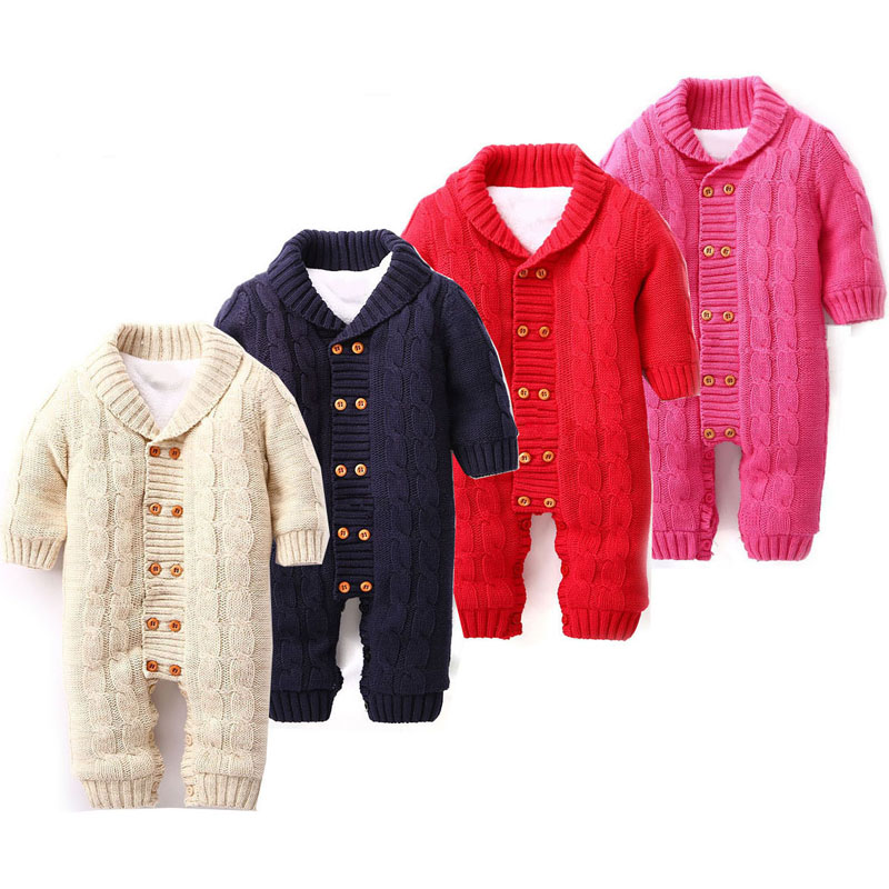 Newborn Baby Rompers Warm Thick Winter Knitted Sweater Rompers Newborn Boys Girls Jumpsuit Climbing Clothes Hooded Outwear<br>