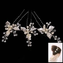 Vintage Silver Clear Crystals Pearls Flower Wedding Hair Pin Bridal Hair Stickers Hair accessories(China)