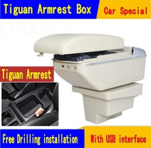 For VW Tiguan armrest box central Store content Storage box with cup holder ashtray USB interface products 2008-2016