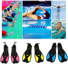 Kids Adults  Soft TPR Full Foot Short Fins Snorkeling Scuba Diving Swimming Training Flippers - Yellow/ Blue/ Rose Red