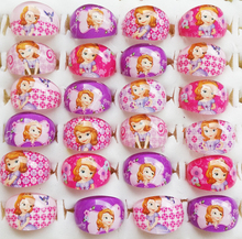 Wholesale Jewelry Store Lots Free Shipping 50pcs Cute The Princess Sofia The First New Popular Childrens Kids Ring(China)