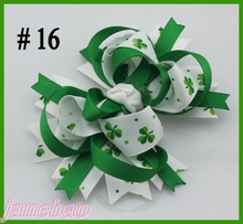free shipping 30pcs 2017 Newest St. Patrick's Day hair bows Festival girl holiday boutique hair bows girl hair clips(China)