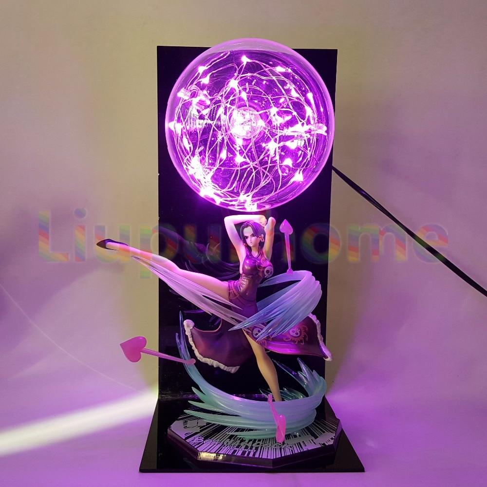 One Piece Boa Hancock Pink Led Night Lights Bulb Lamp One Piece Figuarts ZERO Anime Led Light Christmas Decorations