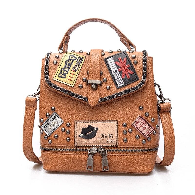 2017 new women bucket top-handle handbag women patchwork tote fashion rivet bag backpack women shoulder bags girls<br>