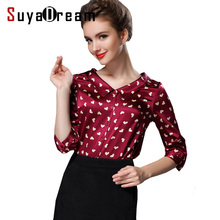 SILK blouse Women 3/4 sleeve PRINT Office lady Button blouse shirt Blusas femininas Office lady spandex Plus size 2017 top