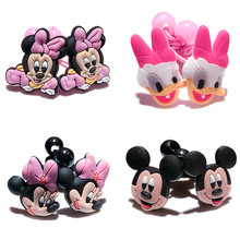4-5Pairs Mickey Minnie Cartoon PVC+Elastic Bands Girl's Headwear Kid Hairbands Hair Accessories for Kid Party Gifts Hair Jewelry(China)