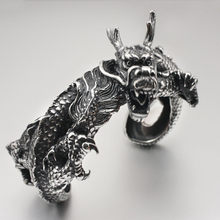 "Huge Heavy 316L Stainless Steel Dragon Bangle Mens Biker Punk Bracelet 5J009 Fit  7.5"" ~ 8.5"" Wrist"