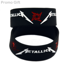 Promo Gift 25PCS/Lot 1 Inch Bracelet Heavy Metal Band Metallica Silicone Wristband for Music Fans(China)