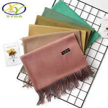 1PC 2017 Winter Tassels Soild Scarf Women Imitated Cashmere Female Long Scarves Autumn Winter Shawls Wrap Soft Warm Pashminas XY(China)