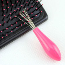 Comb Hair Brush Cleaner Cleaning Remover Embedded Tool Plastic Handle Pink Free Shipping