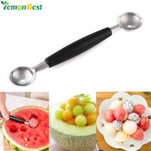 Dual Double-end Melon Baller Scoop Stainless Steel Fruit Scoop Spoon Ice Cream Dessert Sorbet Spoon Kitchenware Cook Tool(China)