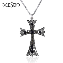 New Big Cross Pendant Necklace with rhinestones hip hop cool jewelry 2016 nke-g59(China)