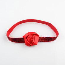 "Girls Headwear 2"" or 5cm Rose Flower with Stretch Glitter Headbands 10pcs/pack Red Pink Silver Green etc."