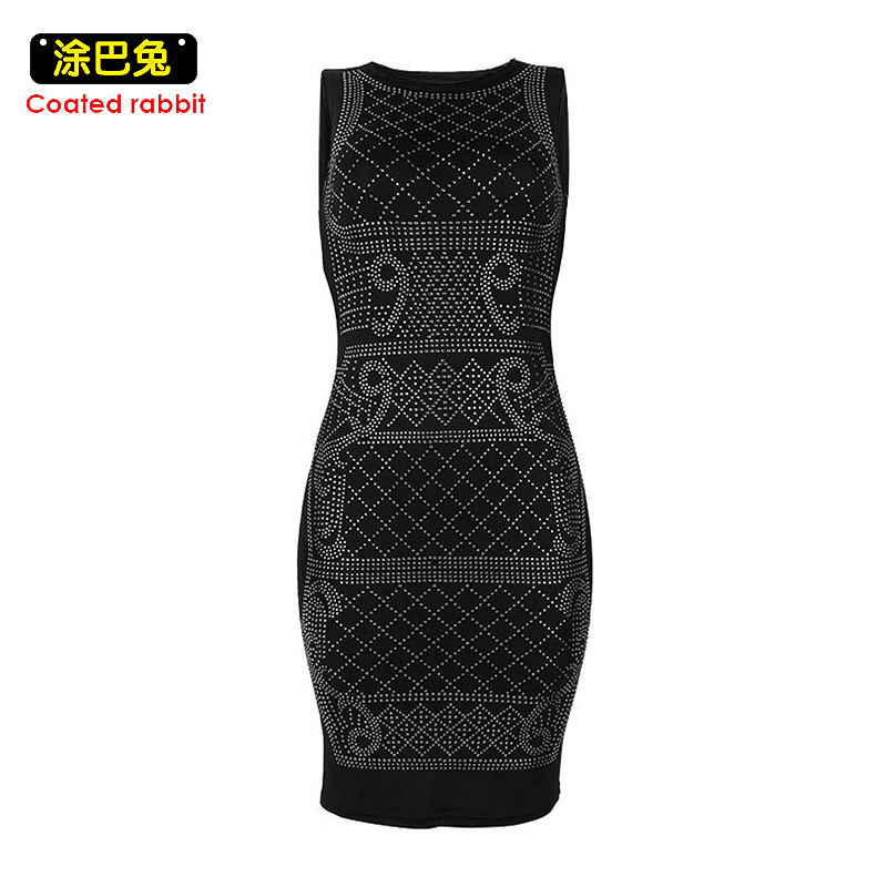 Coated rabbit Winter Women Vintage Dress Fashion Diamonds Sleeveless Sexy Dresses Women Casual Party Bodycon Pencil Dress