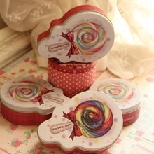 4pcs/lot Lollipop small tin box handmade candy case Iron Chocolate Box Gift package Wedding Party Decor Candy Box