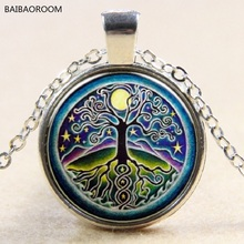 Full Moon Sky Tree Time Gem Pendant Necklace Silver Color Necklace
