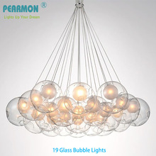 Creative Double Ball Glass Bubble Ball Chandelier Lamp Modern Pendent Lamp Dining Room Clothing Shop Cafe Pendent Lights Fixture(China)