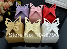 Free Shipping 50 X Champange/Gold Butterfly Candy Box Wedding Gift Box Party Deco Supply(China)