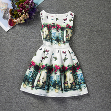 Vintage Baby Girls Dresses Floral Print Kids Party Dress Teenage Girl Clothing Princess Christmas Kids Dresses For Girls Clothes