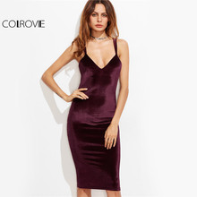 COLROVIE Elegant Velvet Pencil Party Dress 2017 Burgundy Double Strap Women Autumn Dresses Sexy Zip Cross Back Midi Club Dress(China)