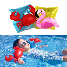 1Pair PVC Pool Swimming Arm Ring Crab Flamingo Inflatable Arm Floatation Sleeves Water Wings Swimming Arm Floats for Children(China)