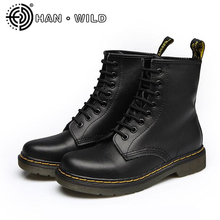 2018 New Spring Fashion Boots Male Genuine Leather Boots Brand Martin Boots Breathable Ankle Boots Men Motorcycle Shoes