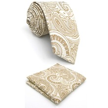"A6 Cream Paisley Silk Jacquard Woven Classic Fashion Men Ties Neckties extra long size Hanky 63""(China)"