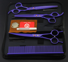 7 inch purple paint put 3 purple pet beauty scissors shear suit send comb(China)