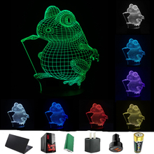 3D Optical Illusion LED Visual Cartoon Frog 3D Night Light RGB Colorful Gradient LED Table Desk Lamp Child Kids Xmas Toy Gifts