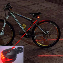 Bicycle 5 LED Light 2 Lasers Night Mountain Bike Tail Light Taillight MTB Safety Warning Bicycle Rear Light Lamp Bycicle Light