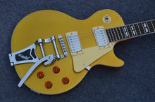 Free shipping Lp electric guitar with bigsby bridge gold top electric guitar with tremolo