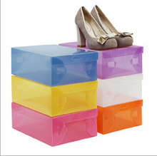 wholesale 100pcs/lot Women's Plastic Clear Shoes Box Storage Organizer 28cm*18cm*10cm, Free Shipping