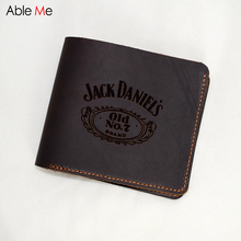 Simple style men's wallet gifts Genuine Leather purses custom jack daniels old NO. 7 Boys Vintage Card Holders Short Wallet Men(China)