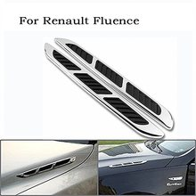 3D Silver Car Chrome Grille Shark Gill Simulation Air Flow Vent Fender Decals Stickers Decoration Cover For Renault Fluence