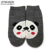 Gloves Mittens For Kid Children Winter Warm Knitted Gloves Cute Girl's Mitten Creative Animal Panda Hot Gift Fashion Knit Gloves(China)