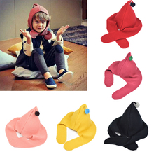 Lovely Baby Kids Boys Girls Winter Warm Knitted Hats Hooded Scarf Earflap Knitted Caps Girls Boys Accessories(China)