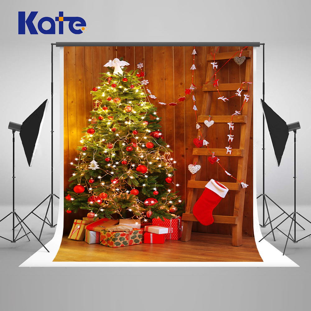 Kate Indoor Photo Background Christmas Tree Custom Photo Backdrops Christmas Socks Box Light  Party Photo Background<br>