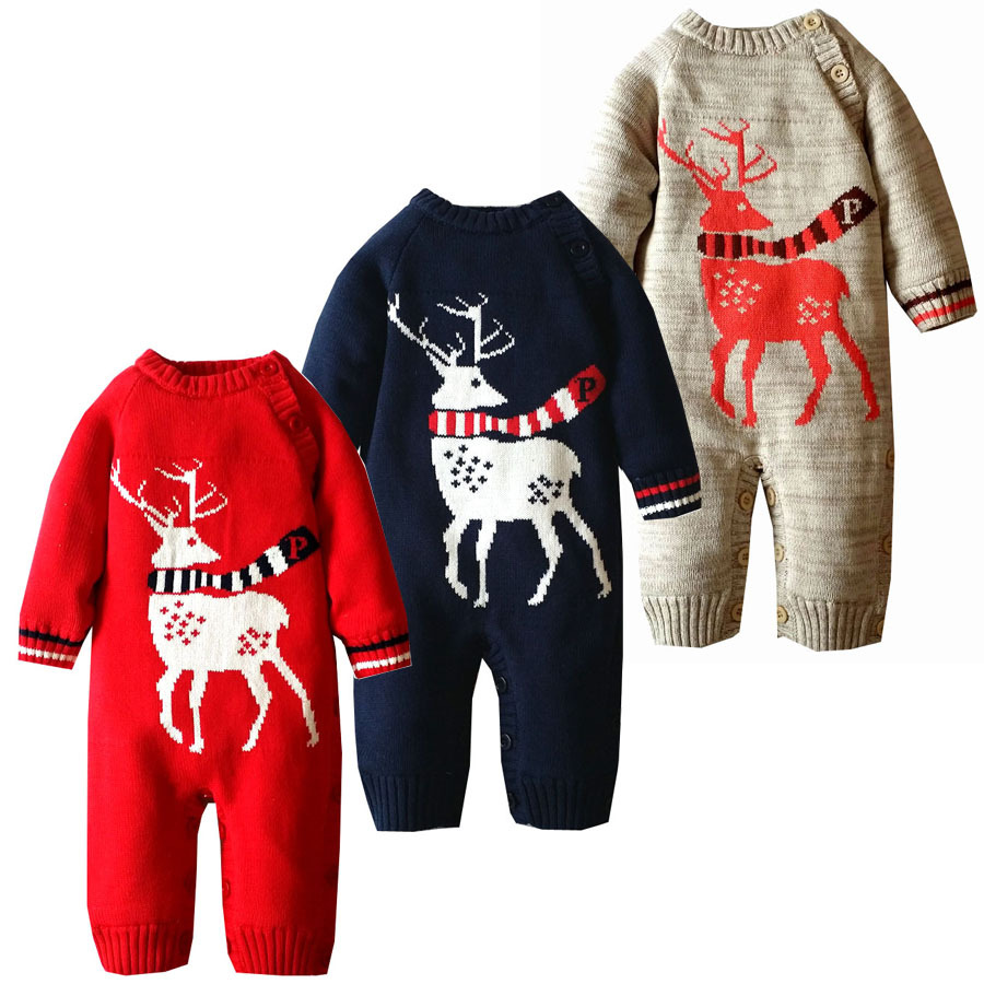 Baby Rompers Winter Thick Climbing Clothes Newborn Boys Girls Warm Romper Knitted Sweater Christmas Deer Outwear<br>