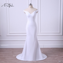 ADLN 2017 New Arrival Simple Wedding Dress V-neck Jersey Mermaid Bridal Gown Plus Size Vestidos de Casamento(China)