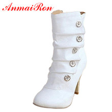 ANMAIRON On Sale Winther New Sexy Style High Heels PU Mid Calf Boots Ladies' Lovely Fashion Snow Shoes Woman Colors Short Boots