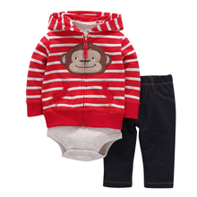 3pcs(long-sleeved Striped Hooded Pockets Zipper Coat+solid Red Fashion Style Romper+pants)baby Boy 2017 New Character Clothes