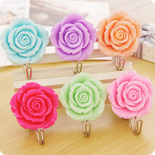 2Pcs Stainless Steel Holder Hook Stick Hangers  home decoration Kawaii roses flowers decorative wall hooks Self Adhesive