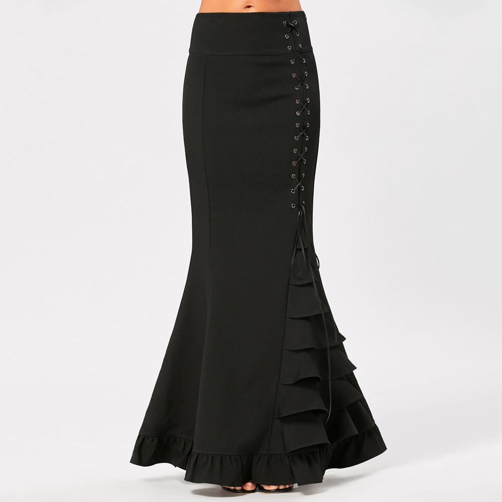 VESTLINDA Women Skirts Black Victorian Gothic Criss Cross Side Ruffled Maxi Mermaid Skirt Costume Fishtail Mermaid Long Skirt 4
