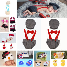Crochet Baby Hat Diaper Set Crochet Boy Gentleman Set Baby Photo Photography Props hat Boys Pilot Clothing Set MZS-14031(China)