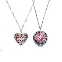1Pcs Heart Brass Hollow Out Flower Pattern Filigree Fragrance Diffuser Necklace Locket For Essential aromatherapy Jewelry(China)