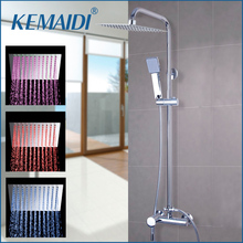 KEMAIDI LED Square Raining Shower Head Bath Shower Tub W/Hand Spray LED  Adjustable Height