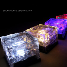 Solar LED Light Buried Lamp Lawn Solar Bulb Underground Light Glass Brick Garden Decoration Waterproof 6 colors