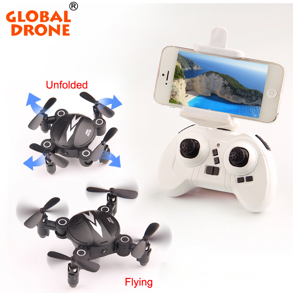 Global Drone foldable Mini Selfie Quadcopter RC Helicopter Dron Profissional Pocket Drone with FPV Camera HD Wifi Drone RTF(China)