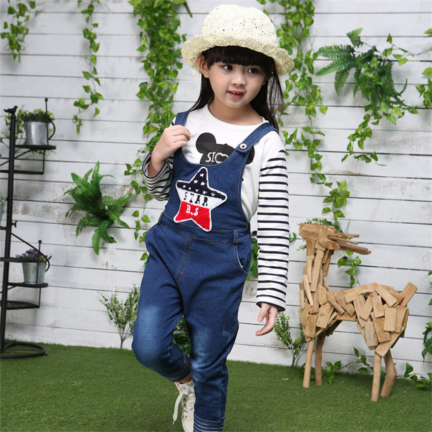 2017 girls spring Quality girls spring black pure cotton stripe braces jeans jumpsuits two-piece  for 0-4 years old<br><br>Aliexpress